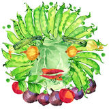 Label funny face vegetables. Assorted raw organic vegetables. watercolor illustration. watercolor vegetables and herbs background Royalty Free Stock Photo