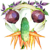 Label funny face vegetables. Assorted raw organic vegetables. watercolor illustration. watercolor vegetables and herbs background Royalty Free Stock Photos