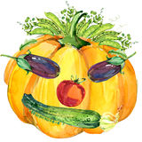 Label funny face vegetables. Assorted raw organic vegetables. watercolor illustration. watercolor vegetables and herbs background Stock Photography