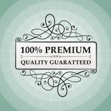 Label garanti par qualité de prime du vintage 100% Images stock