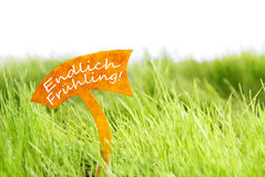 Label With German Endlich Fruehling Which Means Spring On Green Grass Stock Image