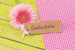 Pink daisy flower and gift tag with german word Gutschein, means voucher or coupon for mothers or valentines day. Label with german word, Gutschein, means Royalty Free Stock Image