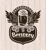 Label with a glass of beer Royalty Free Stock Photography