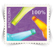 Label for glass bottle recycling posters stylized as post stamp Stock Images