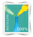 Label for glass bottle recycling posters stylized as post stamp Royalty Free Stock Photography