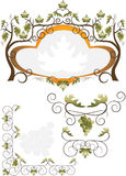 Label of grape leaves. Pattern. Stock Photo