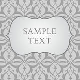Label on gray damask background Stock Photos