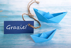 Label with Grazie and Boats Royalty Free Stock Image
