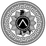 Label with the Greek pattern. silhouette of the Spartan soldier Stock Photography
