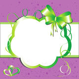 Label with green bow and hearts. Stock Photo