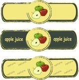 Label. Green and red apples on yellow background, painted, dark green fram Royalty Free Stock Image