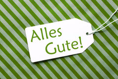 Label On Green Wrapping Paper, Alles Gute Means Best Wishes Stock Images