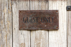 Label of guest only on wood Royalty Free Stock Image