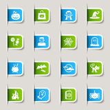 Label - Halloween Icons. 16 Halloween vector icons set Royalty Free Stock Image