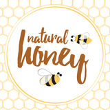 Label with hand drawn bee and honeycomb made on brght yellow color. Stock Photos