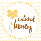 Label with hand drawn honeycomb and honey made on brght yellow color. Stock Images