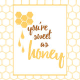 Label with hand drawn honeycomb and honey made on brght yellow color. Stock Photography
