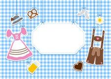 Label Hanging Oktoberfest Icons Check Pattern Background royalty free illustration