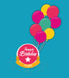 Label happy birthday to you with fly balloons Royalty Free Stock Image
