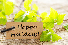 Label with Happy Holidays Stock Images