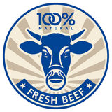 Label with the head of a bull Stock Photos