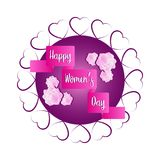 Label with hearts and flowers. Happy women day. Vector illustration design Stock Photo
