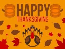 Label heureux de jour de thanksgiving Bannière de thanksgiving avec des feuilles Photographie stock