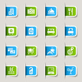 Label - Hotel icons. 16 hotel and resort icons set Stock Photos