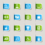 Label - Hotel icons. 16 hotel and resort icons set stock illustration