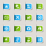 Label - Hotel icons. 16 hotel and resort icons set Stock Photo