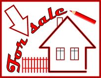 Label house for sale with red pencil Stock Photo