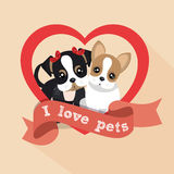 label i love pets female male doggy heart Royalty Free Stock Photography