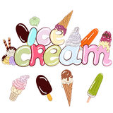 Label ice cream. Cream colored lettering and icons different types of ice cream Stock Photos