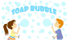 Label with the image of girl and boy who are blowing bubbles. Royalty Free Stock Photography