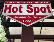 Label information of hot spot free wifi . Service area royalty free stock images