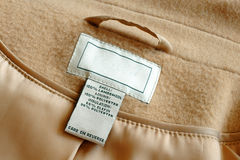 Label inside of coat Royalty Free Stock Photography