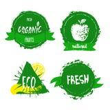 Label, insigne ou joint frais d'aliment biologique dessiné par Han de ferme Images libres de droits