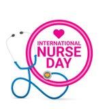 Label international de vecteur de jour d'infirmière de vecteur illustration libre de droits