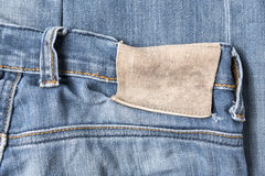 Label on jean pants. Wear and clothing Stock Photography