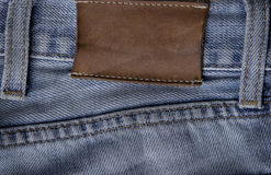 Label on jeans. Label  for an inscription on light jeans Royalty Free Stock Image