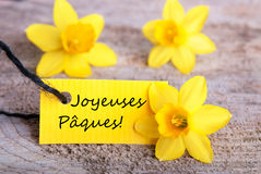 Label with Joyeuses P�ques Royalty Free Stock Photo