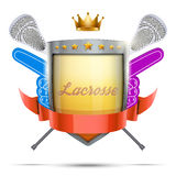 Label for lacrosse sport club or event. Bright Stock Image