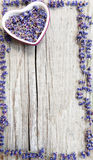 Label for lavender products. On wood Stock Photos