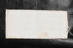Label on leather Stock Image