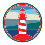 Label with lighthouse Stock Photography