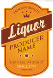 Label for liqueur. Label in curly frame for liqueur with ribbon and crown in retro style Stock Images