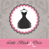 Label with little black dress.Paisley lace background Stock Image