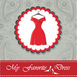 Label with little red dress.Paisley lace background Stock Image