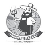 Label or logo  with farmer Stock Photography