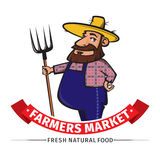 Label or logo  with farmer Stock Image